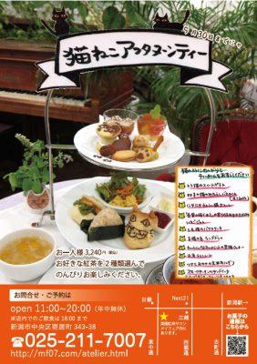 新潟市のカフェで、猫をテーマにした「猫ねこアフタヌーンティー」