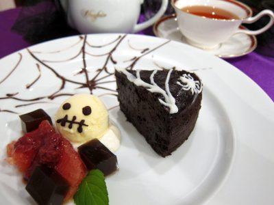 新潟市にいらしたらハロウィンの蜘蛛の巣チョコレートケーキ